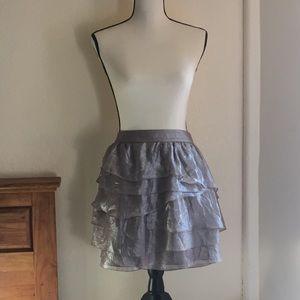 Club Monaco tiered metallic party skirt size 8